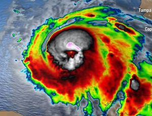 Typhoon Michael appears like a skull in satellite images