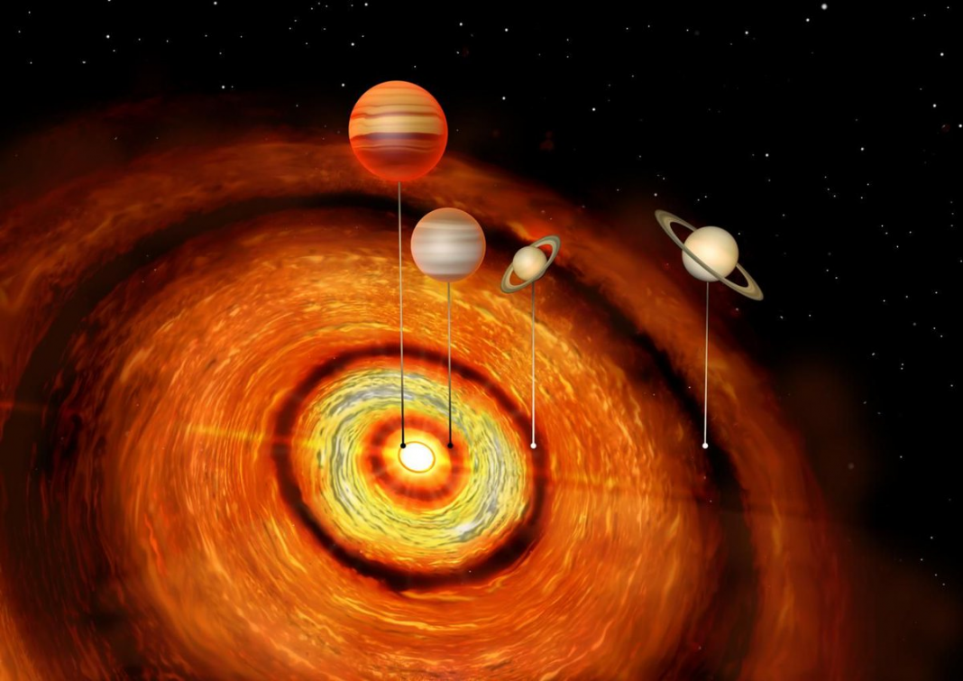 Unexpected Discovery. 4 Huge Worlds Discover Around an Extremely Young Star