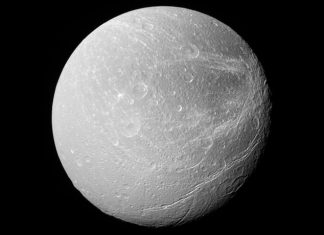 Saturn's moon Dione has stripes like no others in the planetary system