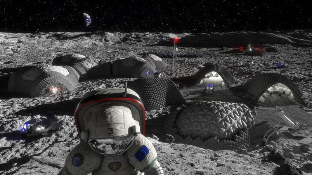 Europe's Vision of a Future Moon Base. Constructed of Moon Dust.