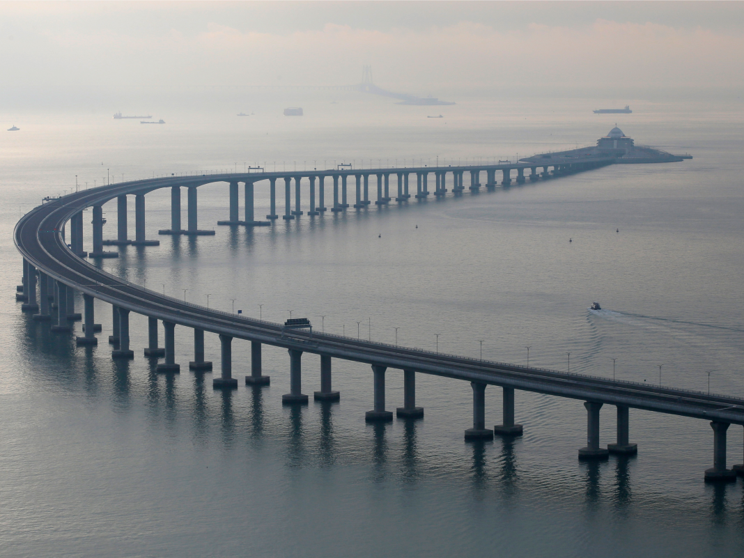 China simply opened the world's longest sea bridge. It cost $20 billion and is 20 times as long as the Golden Gate Bridge.