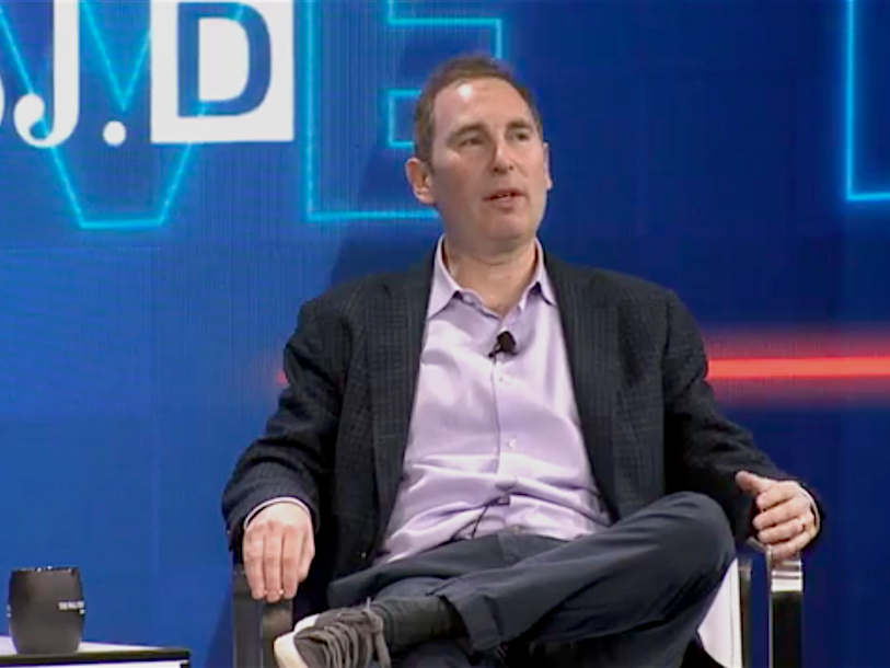 Amazon Web Solutions CEO Andy Jassy roasted Larry Ellison by turning the Oracle creator into a cartoon-like face glancing over a wall (AMZN, ORCL)