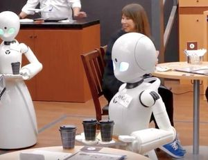 Individuals with paralysis from another location control robotic waiters in Tokyo coffee shop