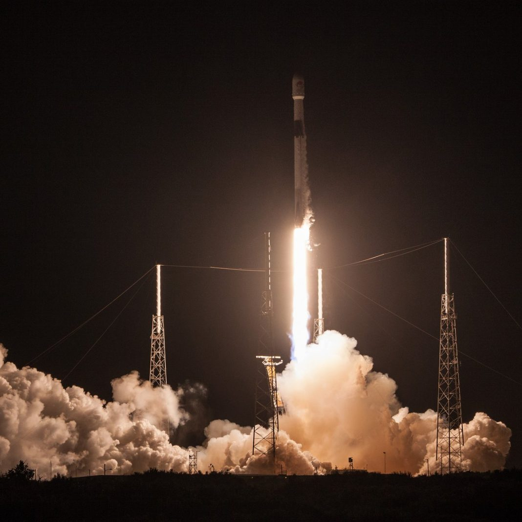 SpaceX Utilizes a Thrice-Launched Booster to Send Out 64 Satellites Into Area.