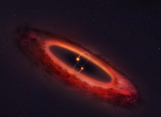 Strange Double Star System Turned its Planetary Disk on its Side