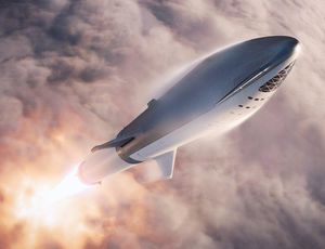 Elon Musk displays the glossy SpaceX Starship