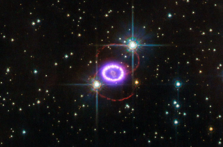 Astronomers are Continuing to View the Shockwaves Expand from Supernova SN1987 A, as they Crash Into the Surrounding Interstellar Medium