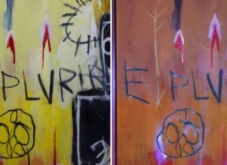 Basquiat utilized unnoticeable ink to make secret illustrations in his paintings
