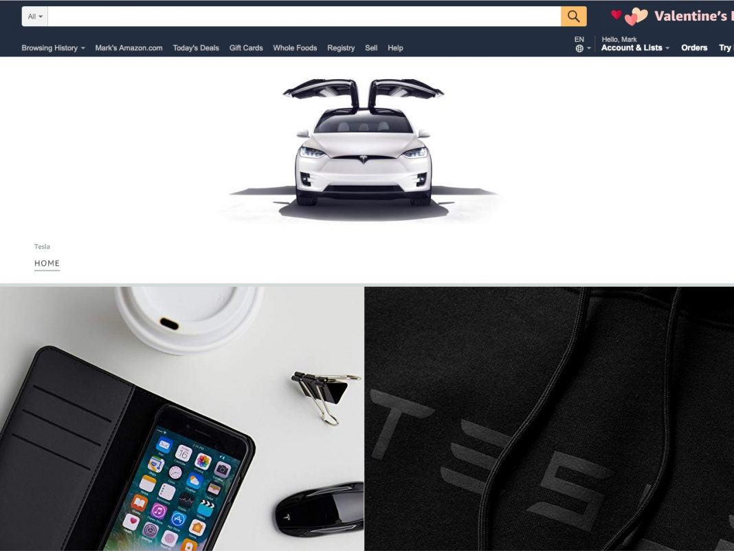 Tesla released a brand-new shop on Amazon where it's offering iPhone cases, hoodies, and mugs (TSLA, AMZN)