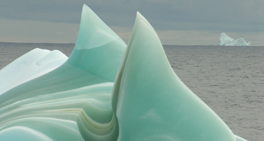 Little bit of iron might discuss why some icebergs are green