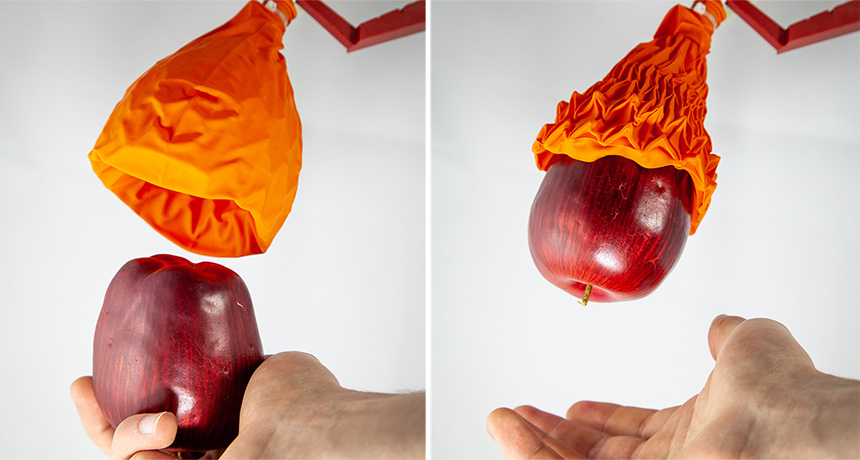 An origami style assists this robotic lift fragile and heavy freight