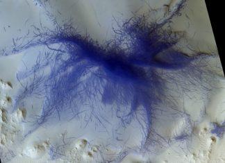 Area Orbiter Spots 'Hairy Blue Spider' on Mars