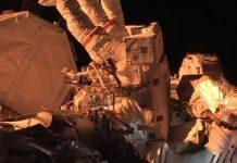 See spacewalking ISS astronauts shower in a blazing-fast sundown