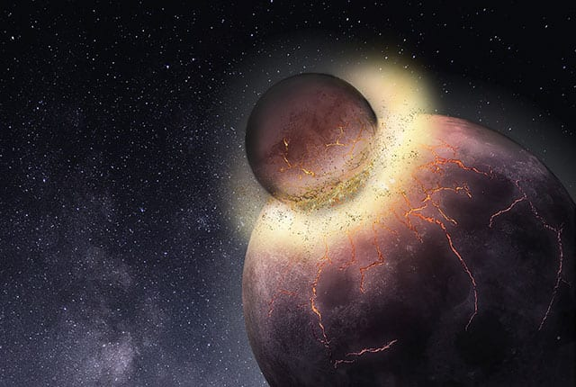 When the Effect that Produced the Moon Took place, the early Earth was still a ball of lava