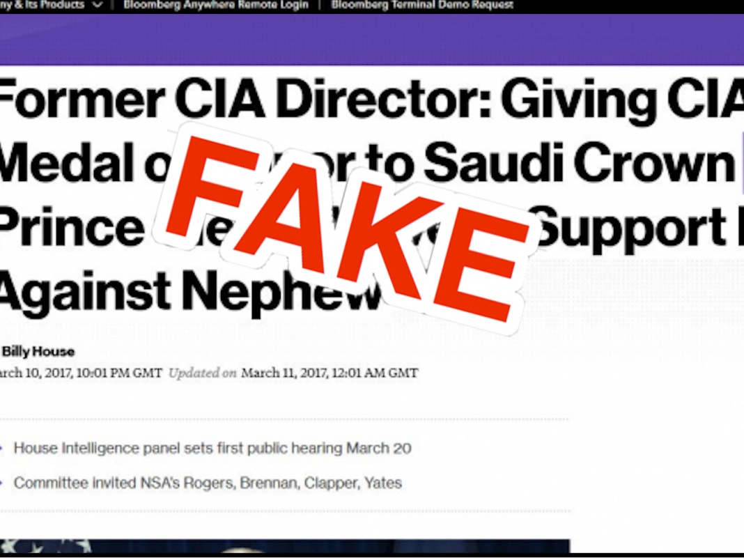 A huge disinformation network of copycat phony news websites with names like 'Bloomberq' and 'The Indepnedent' has actually been pinned on Iran