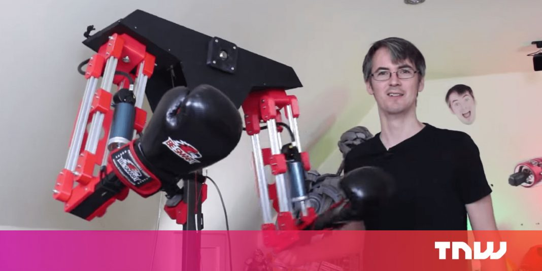 Mad researcher constructs a robotic to beat the crap out of him in a VR combating video game