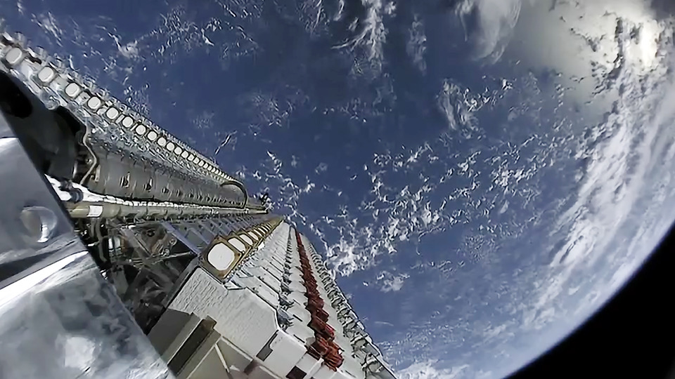 Capturing a Flight on the Starlink Satellite Train: Midnight Marvel, or Night Sky Threat?