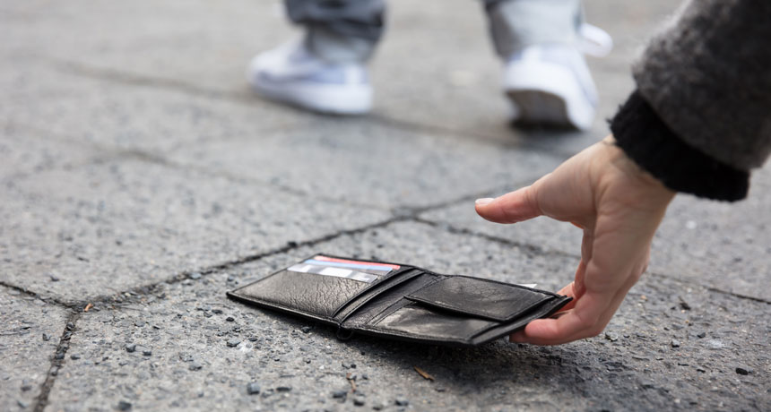 Lost wallets are most likely to be returned if they hold money