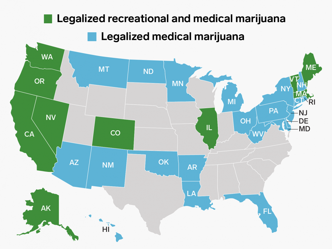 Illinois simply ended up being the very first state to legislate cannabis sales through the legislature– here are all the states where cannabis is legal