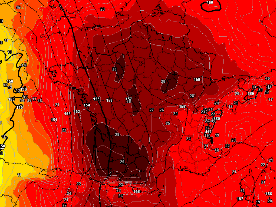 The heat wave in Europe is so extreme that the weather condition map of France appears like a yelling heat skull of death