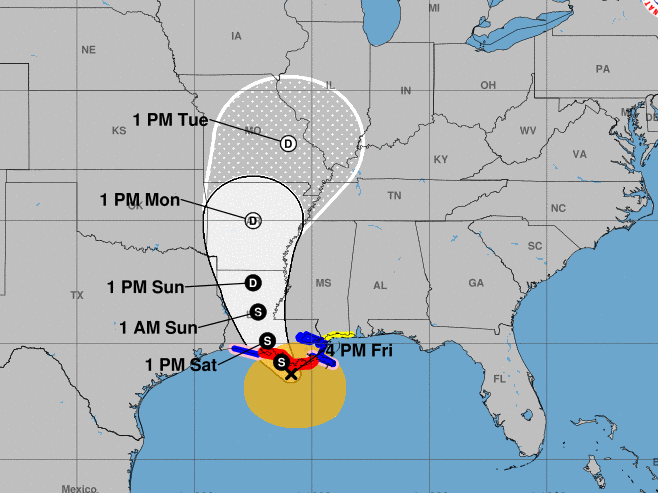 Hurricane Barry is anticipated to make landfall tomorrow early morning as a cyclone. Here's where the storm's course is heading.