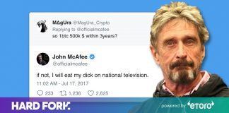 Learn for how long till John McAfee should consume his own penis (cos Bitcoin)