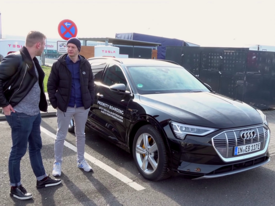 Audi e-trons are obstructing Tesla Supercharger stalls