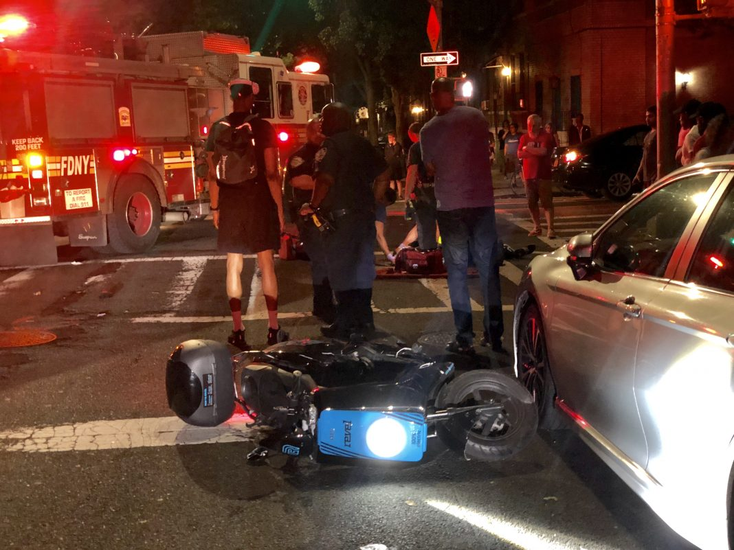 A rideshare chauffeur struck a male on an e-scooter in Brooklyn, highlighting possible dangers as scooters and e-bikes broaden across the country