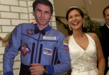 The story of the very first area wedding event, when a female in the world wed a cardboard cutout of her astronaut sweetheart while he saw on from the International Spaceport Station
