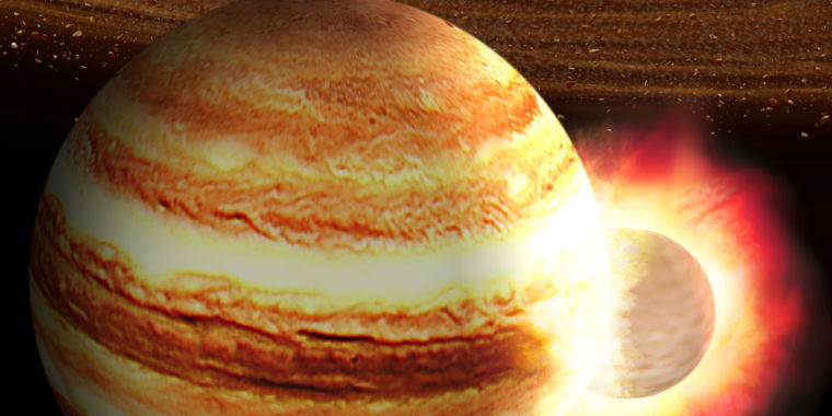 Jupiter might have had a head-on crash with an enormous protoplanet