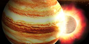 Jupiter might have been smashed by head-on collision with large younger planet