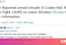 "Louisiana State College Twitter warns of armed intruder, tells college students to ""Run, Disguise, or Struggle"" UPDATE: Regular operations have resumed on campus"