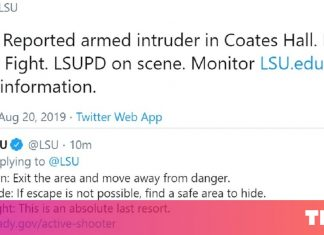 """Louisiana State College Twitter warns of armed intruder, tells college students to """"Run, Disguise, or Struggle"""" UPDATE: Regular operations have resumed on campus"""