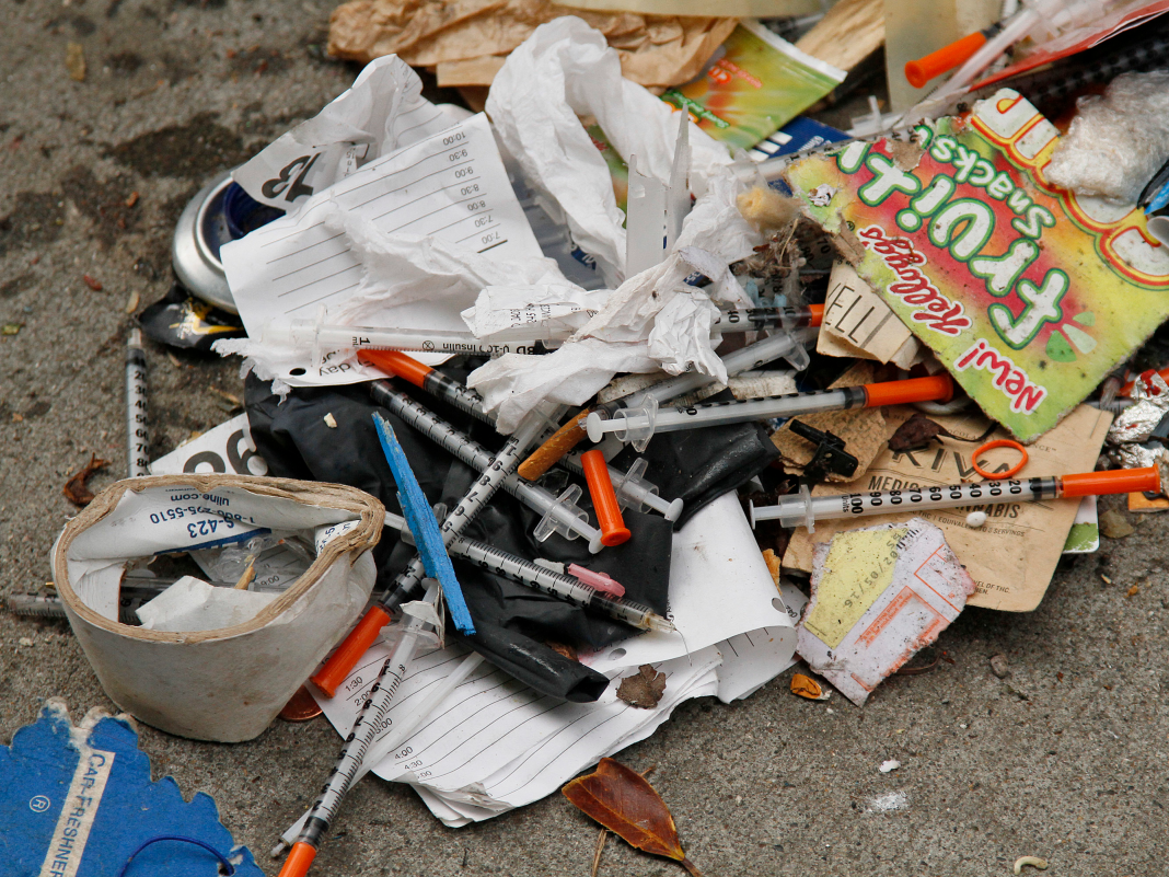 San Francisco's dirtiest street has an outside drug market, disposed of heroin needles, and stacks of poop on the pathway