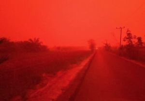 Indonesia fires turn sky a terrible blood red