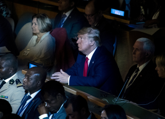 Trump crashed the UN Environment Action Top, where he praised Narendra Modi and appeared to offer Angela Merkel the cold shoulder