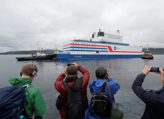 Russia's very first drifting nuclear reactor, which activists called 'Chernobyl on ice,' has actually docked near Alaska. Images reveal its journey.