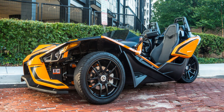 The Polaris Slingshot three-wheeler is not for diminishing violets