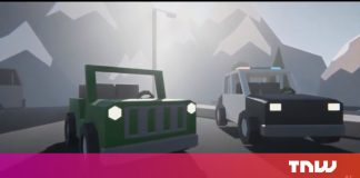Enjoy this AI police officer cars and truck battle an AI Jeep