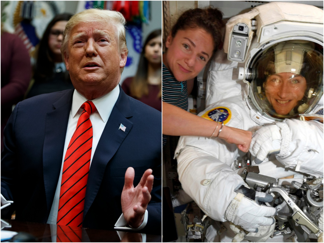 2 female astronauts pleasantly remedied Trump midspacewalk after the president made a galling mistake