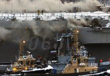 Russia's only carrier, damaged in shipyard accident, now on fire