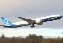 Boeing's massive foldable-wing 777X jet completes its first test flight video