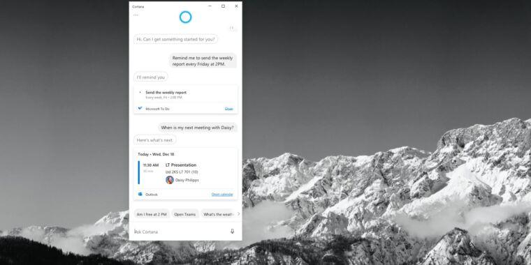 Cortana's not Alexa—skills are going away in Windows 10 version 2004