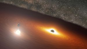 Dancing black holes create mega flare brighter than one trillion stars