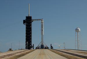 See SpaceX Crew Dragon and Falcon 9 go vertical on the launchpad