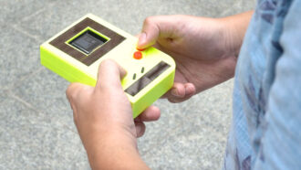 A Game Boy look-alike runs on solar panels and button smashes